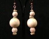 Light wooden drop earrings