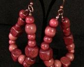 Dark wooden hoop earrings