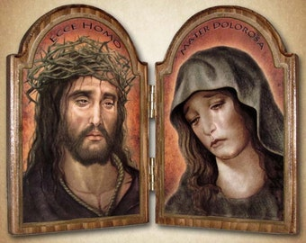 "Ecce Homo / Sorrowful Mother Wood Diptych 9.5"" x 6.75""  Free Shipping"