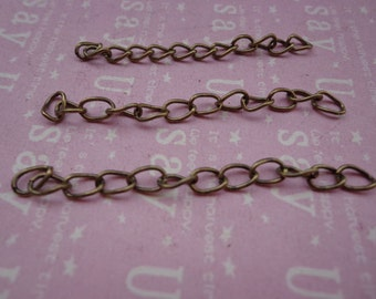100 pcs of 4.5-5cm Long x 3mm wide Exquisite antique bronze Tail Chain