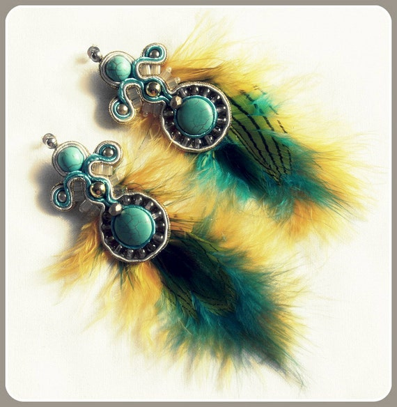 Azure and Gold soutache earrings with feathers, HANDICRAFT