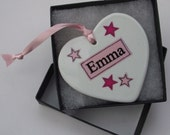 Pink Star Collection Hanging Heart Personalise With Your Own Name - Pink