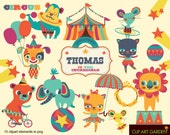 INSTANT DOWNLOAD Circus animals digital clipart elements for Personal and Commercial use. (paper crafts, card making, scrapbooking)