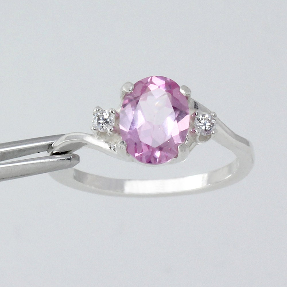pink sapphire sterling silver ring with diamonds lab
