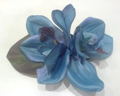 Double blue orchid hair flower clip