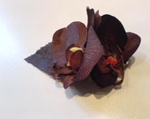 Double brown orchid hair flower clip