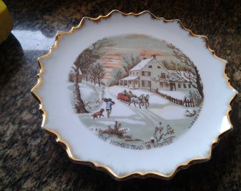 On Sale Currier and Ives Homestead in the Winter Decorator Plate