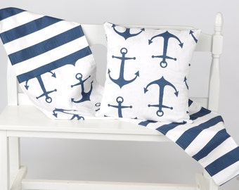 Nautical  table runner navy anchor
