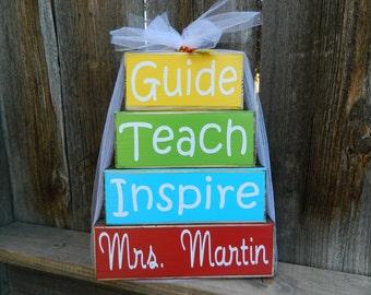 Teacher appreciation wood blocks (bright)--Guide, Teach, Inspire, Personalized Name