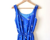 SALE Vintage royal blue dress. White print dress. Long dress. Party dress