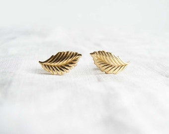 Small Gold Leaf Earrings. Leaf Stud Earrings. Spring Fashion. Simple Modern Jewelry by PetitBlue