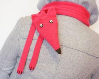 Fox scarf Pink - Fox scarf - Fox knitted scarf - Knitted scarf - Kids scarf - Knitted baby scarf - Knit scarf