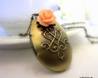 Oval Locket  Necklace Antique locket Vintage Inspired Gold Locket  Photo Locket Carved Gift for her