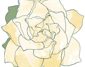 "Gardenia Print 8x8"" (Signed)"