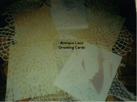 Antique Lace Greeting Card Set   5 x8 Inches     Set of 6   Handmade  Original Deiigns  By Yeteryeargal   Joyce Lee