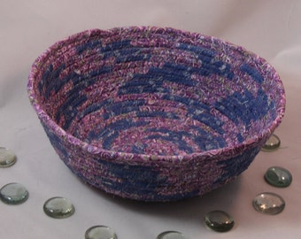 Lavender Blue Coiled Fabric Basket