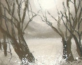 ACEO Low Sun Through Trees  Pastel Painting