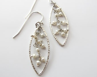 Pearl drop earrings-Sterling silver-Drop earrings-