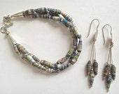 Upcycled Hand Made Paper Bead Blue Denim Three Strand Bracelet With Matching Earrings