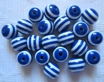 20  Navy Blue & White Striped Round Acrylic Resin Beads  10mm