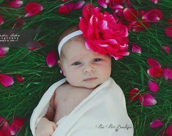 Baby Girl Headband - Baby Headband - Newborn Headband - Infant Headband - Toddler Headband - Peony Flower Headband - Vintage Headband