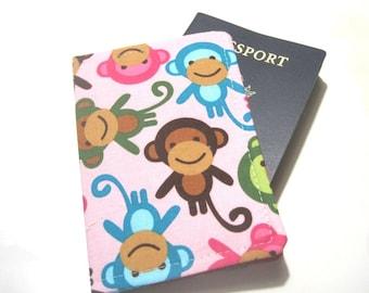 Passport Cover Passport Holder Passport Wallet Travel Passport Case Cute Travel Gift Bridesmaid Gift- Monkeys Pink, Kids Passport
