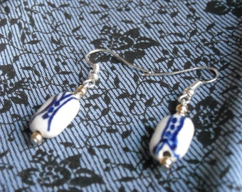 Ceramic Blue China-patterned Earrings
