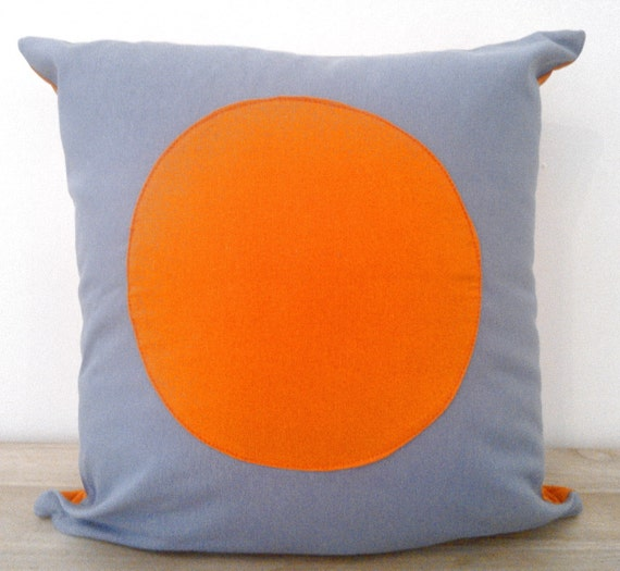 orange and grey throw pillow cover with circle geometric grey. Black Bedroom Furniture Sets. Home Design Ideas