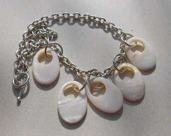 Made by hand necklace MOP shells and chunky silver tone chain  Free USA shipping