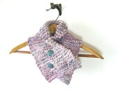 Chunky Cowl, Czech glass buttons, handknit, merino bamboo nylon handspun yarn, pink, blue, lavender, gift for her, Elegance