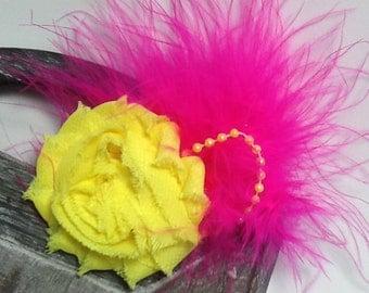 Hair clip: Neon yellow and fuschia hair accessory w/ fuschia feathers, neon yellow shabby flower flower hair clip, feather hair clip