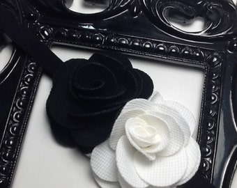 Black and white rose flowers on a black headband, Flower headband, girls headband, baby headbands, headbands for girls, headband for babies