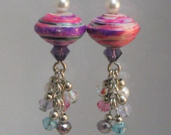 Paper Bead Jewelry- Paper Bead Earrings- Paper Beads- Dangle- Crystal- Pink- Purple- Pearl- Recycled- Upcycled- handmade jewelry- Earrings