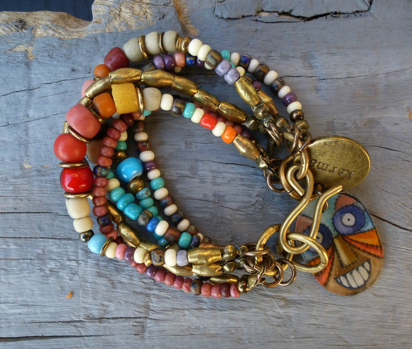 Beaded Charm Bracelets: Gypsy Bohemian Six Strand Beaded Charm Bracelet HAPPY