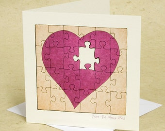 Love Card - You're The Missing Piece - Heart - Jigsaw - illustration - Drawing - Art