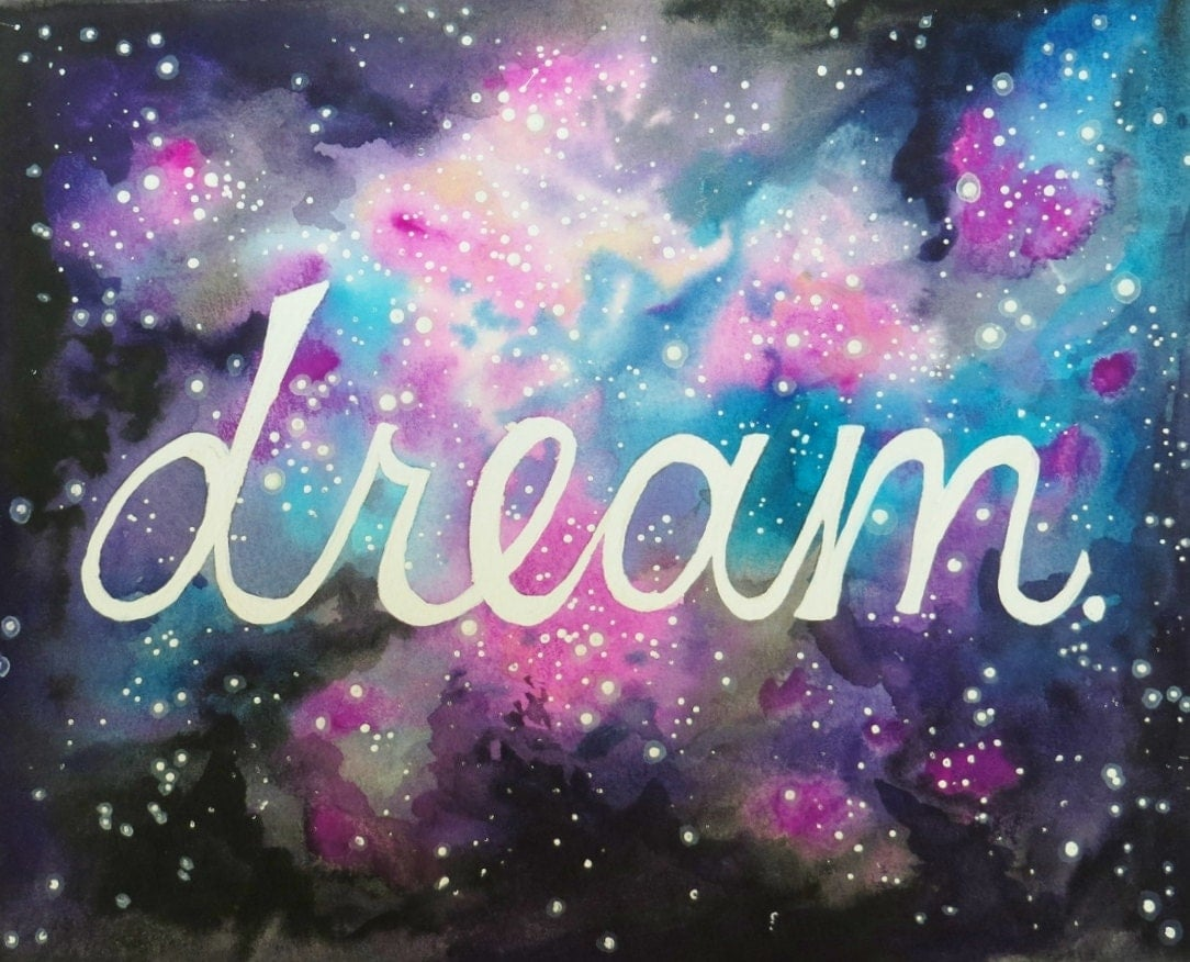 Galaxy Watercolor Tutorial Galaxy Dream Watercolor Print