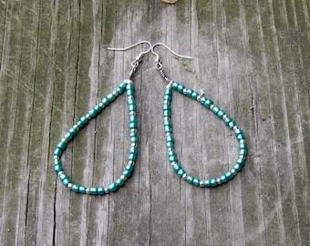 Green and Silver Beaded Teardrop Earrings **FREE SHIPPING**