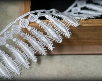Ivory Venice Lace Embroidered Guipure Lace Trim LA-100