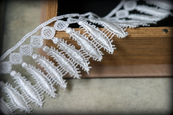 Elfenbein-Venedig-Spitze bestickt Guipure Lace Trim LA-100