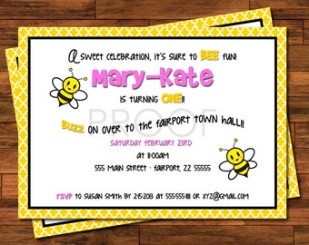 Bumble Bee Invitations - 5x7 or 4x6 - Bee, Buzz, Honeycomb, Pink - Customized