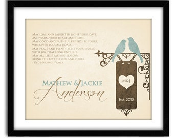 Personalized Wedding Anniversary Gift, Romantic Love Birds Print, Personalize with Names, Dates and Color, Home decor 8x10