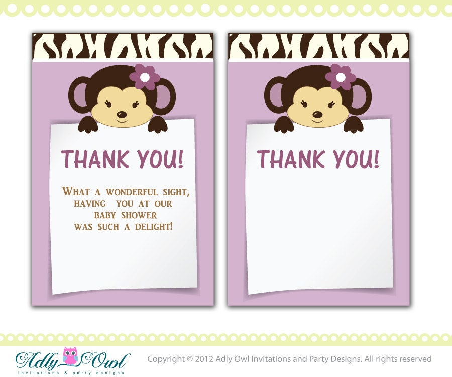 Cocalo Jacana Baby Shower Thank You note card thank you tag