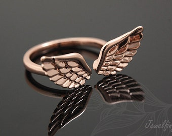 S411-10pcs-Pink Gold Plated-Ring-Wing