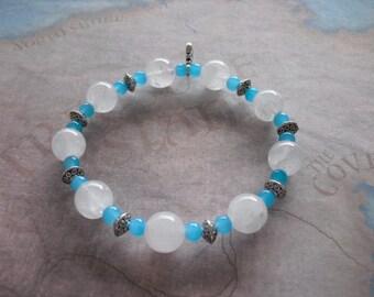 white jade & aquamarine bracelet