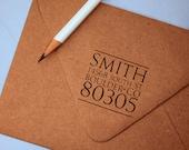 Return Address Stamp, custom address stamp square, black self inking stamp, rubber stamp wood handle