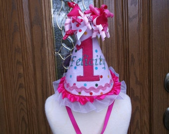 Girls First Birthday Party Hat - 1st Birthday Hat - Birthday Party Hat  - Free Personalization
