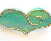 Minty Teal Heart Barrette Hair Accessory, Hair clip, Heart Barrette, Mint Green, Spring Hair Fashion,