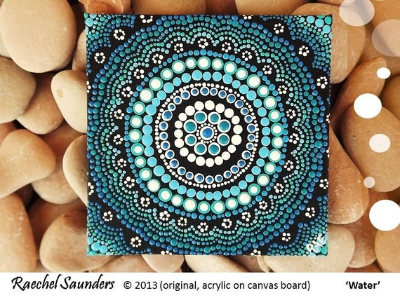 acrylic painting aboriginal art water art small painting
