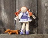 Crochet  art  doll. Handmade collectable doll. Girl and dog. White / blue  striped / red hair