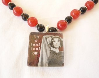 Bad, Bad Girl pendant on Red Jade and Onyx necklace